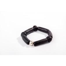 Silver Unisex Black Bead bracelet