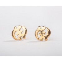 18kt yellow gold Gye Nyame Adinkra Stud Earrings