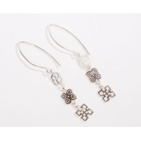 Sterling Silver Adinkra hoop dangling earrings