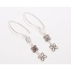 Sterling Silver Adinkra hoop dangling earrings