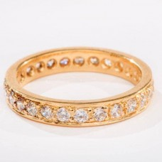 18kt Yellow Gold eternity ring with Cubic Zirconia Stones