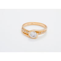 18kt Yellow Gold Central Top Twist Engagement Ring with Channel sides Cubic Zirconia Stones