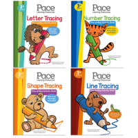 Pace LR Line, Number, Letter and Shape Tracing Activity Books (Set of 4)